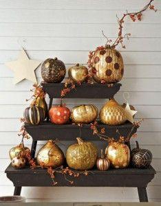 Painted Pumpkins: Decor Ideas, Gold Pumpkin, Fall Decor, Falldecor, Halloween Pumpkin, Holidays, Painted Pumpkins, Paintings Pumpkin, Crafts