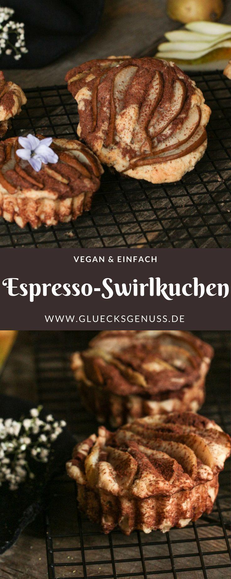 {Rezept} Espresso-Swirlkuchen mit Birnen / vegan - Glücksgenuss