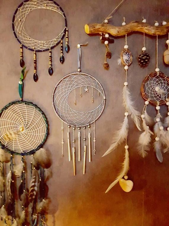 Silver Cresent Moon and Stars Dream Catcher and Wind Chime Check out this item in my Etsy shop https://www.etsy.com/uk/listing/587838843/large-cresent-moon-and-stars-dream