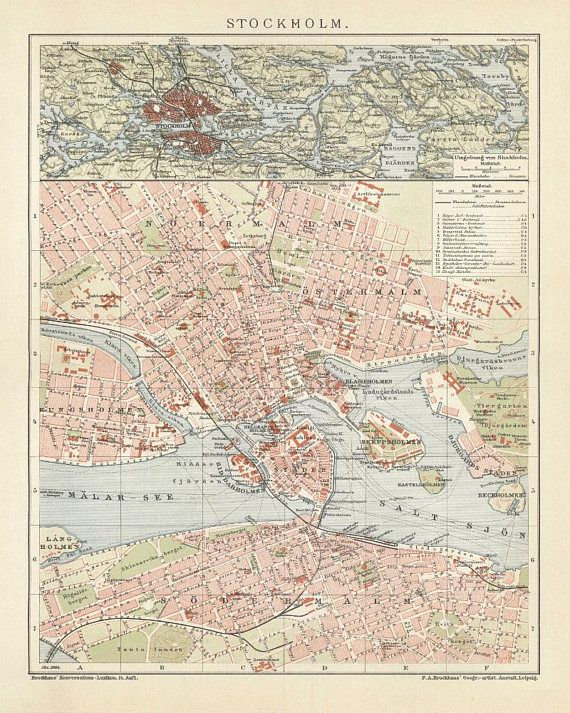 Stockholm Antique Map Reproduction / Old Map Print of Stockholm - handmade paper print