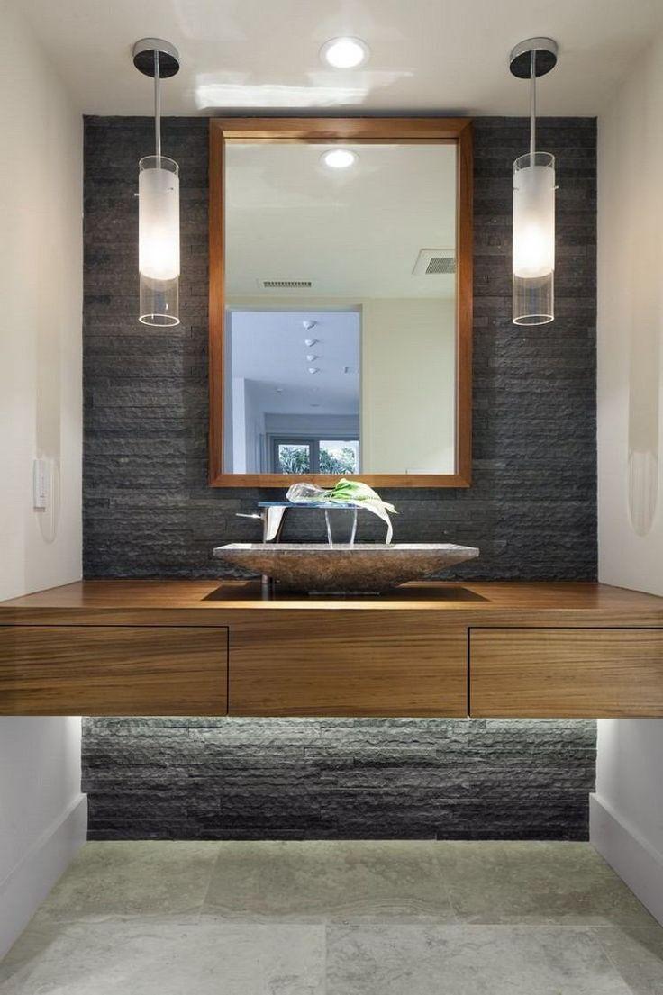 luminaire salle de bains plan vasque bois avec des suspensions de design arrondies