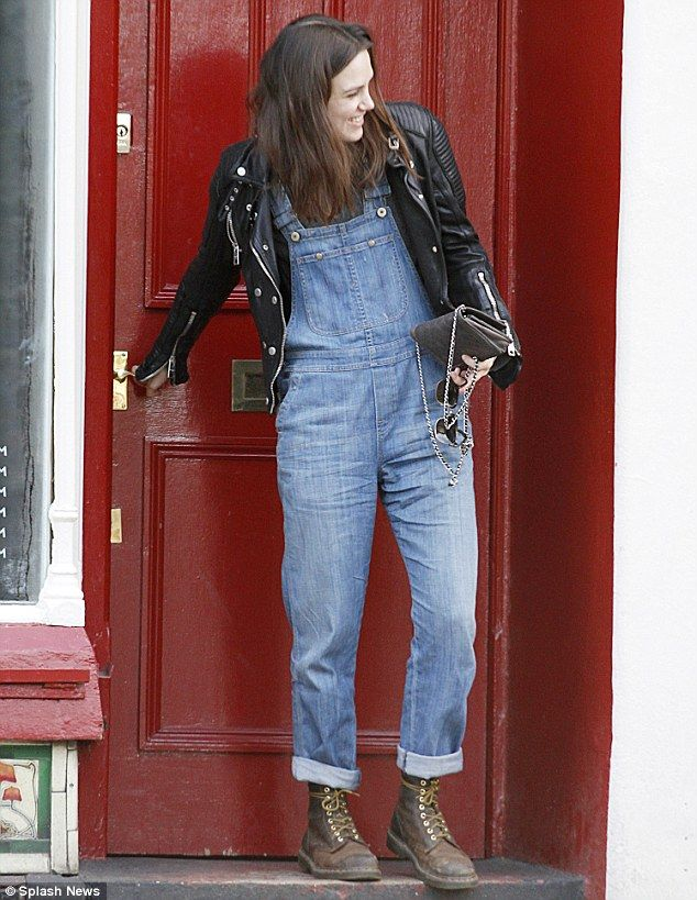 Keeping it casual: Digging out her favourite denim dungarees, the Jack Ryan: Shadow Recruit star looked every inch the rock chick in a studd...