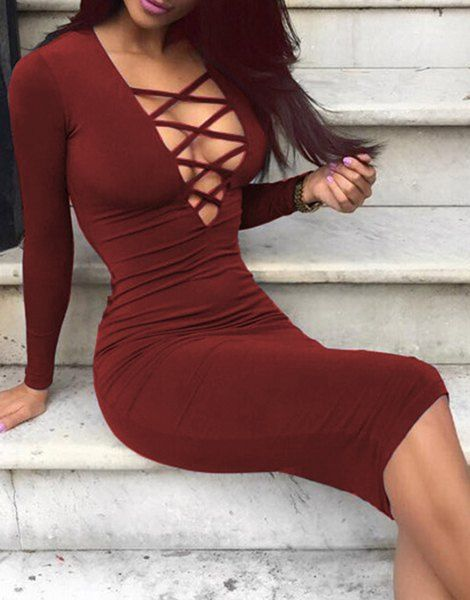 Attractive Plunging Neck Solid Color Hollow Out Bodycon Long Sleeve Dress For Women