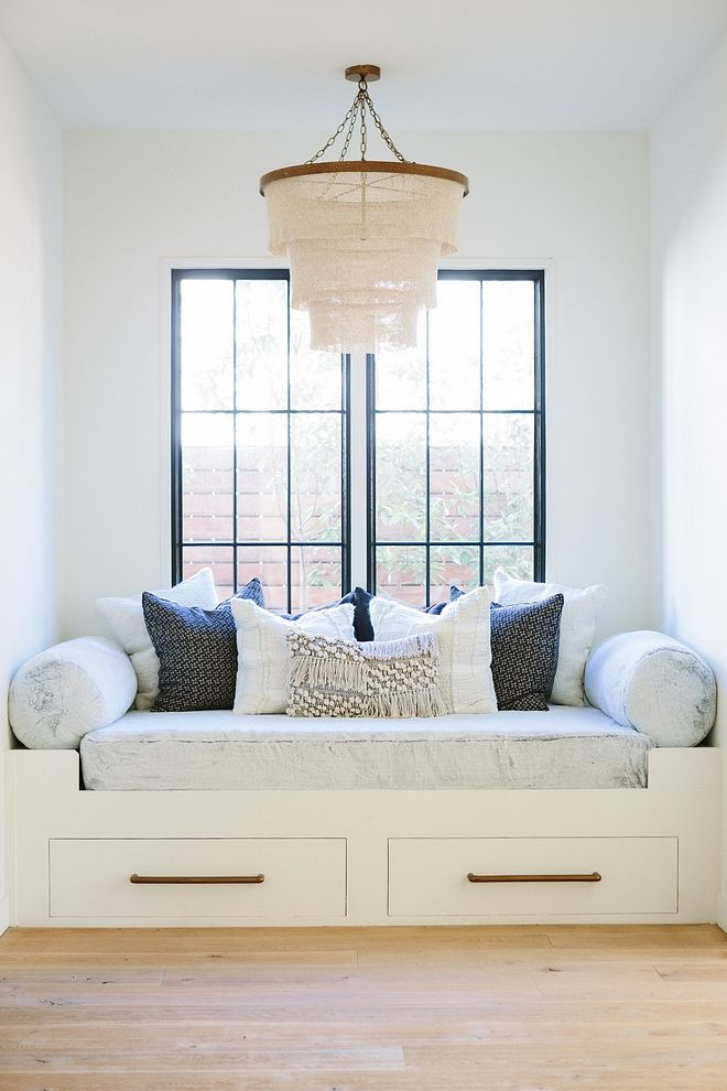 Custom Window Seat Reading Nook With Black Steel Windows Pehuen Pillowade Goods Patricia Chandelier Natural Windowseat Blacksteelwindows
