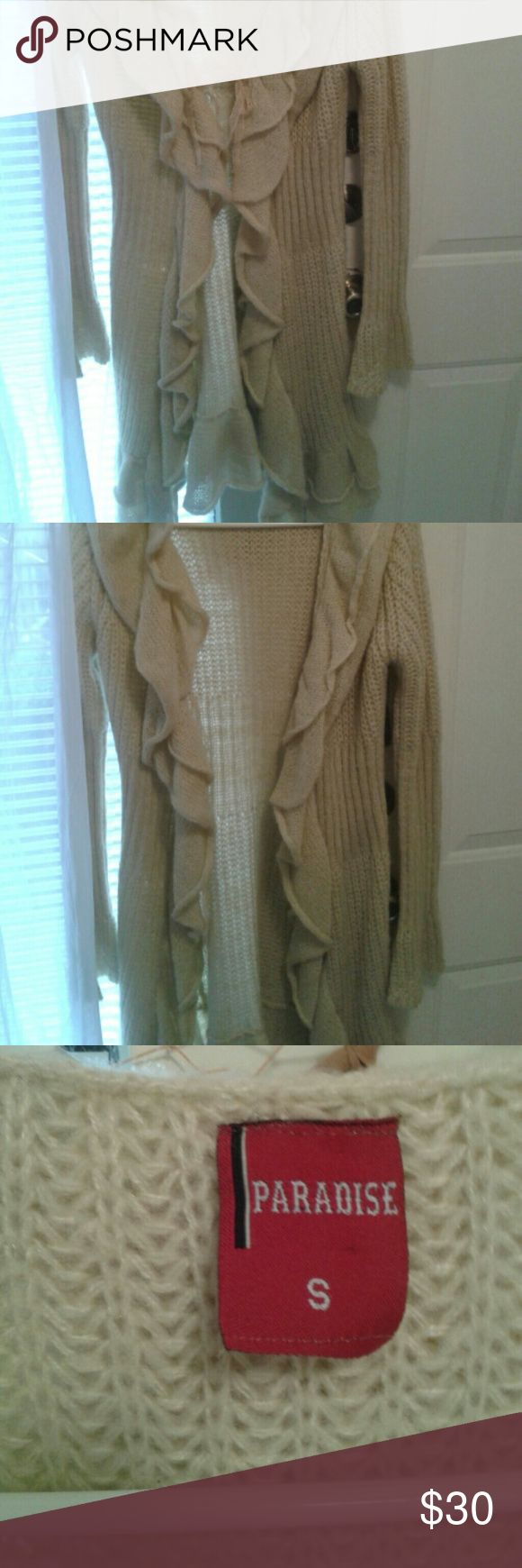 Long ruffle trim sweater small/medium Creamy biege  ruffled  midi sweater. Sweaters Cardigans