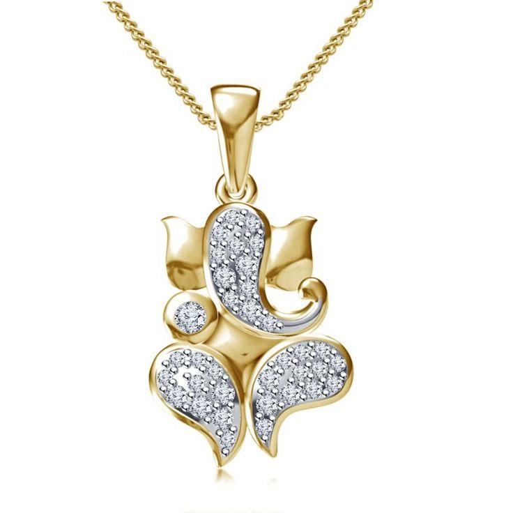 Buy Ganesha 0.31 Ct Diamond Yellow Gold Pendant  KhannaJewels
