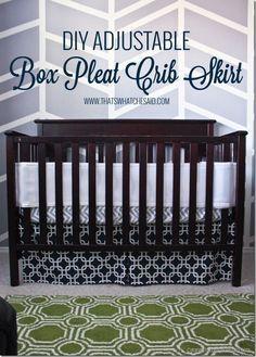 DIY Adjustable Box Pleat Crib Skirt Tutorial at thatswhatchesaid.com
