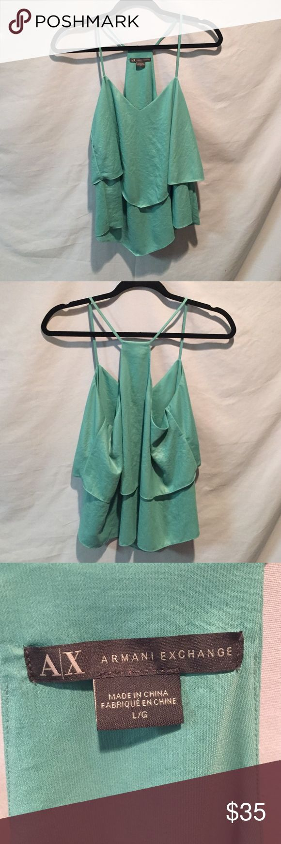 SALE 🔥Armani Exchange Tank Top Beautiful soft mint green Armani Exchange tank top. Perfect for that night out with jeans and boots! Armani Exchange Tops Tank Tops