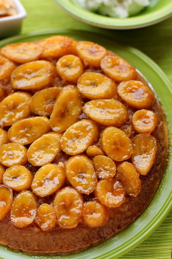 Caramelized Banana Upside-Down Coconut Cake With Coconut Whipped Cream