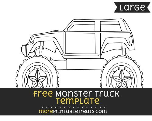 Free Monster Truck Template - Large Monster Truck Party Printables