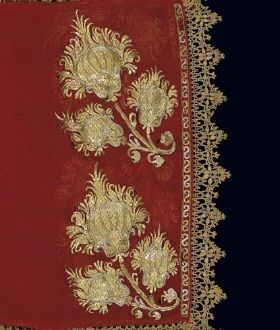 Traditional Orthodox Embroidery  (detail of the gold-thread embroidery on a sleeve of a bridal chemise. From Skyros island, 18th-19th c.)