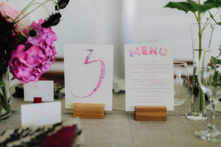 Wedding table numbers - Pretty in pink !