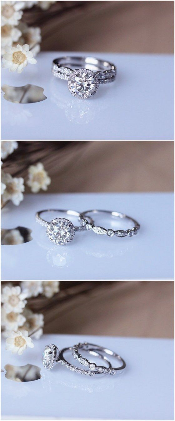 Round brilliant cut diamond halo wedding set