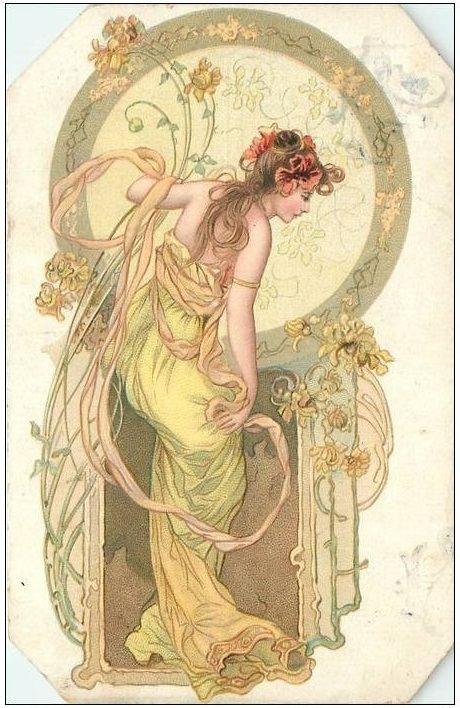 "Affiche+... Art Nouveau(stijl) Vrouw *Poster+...Jugendstil(style) Women ~""Spiced Bread""?~"