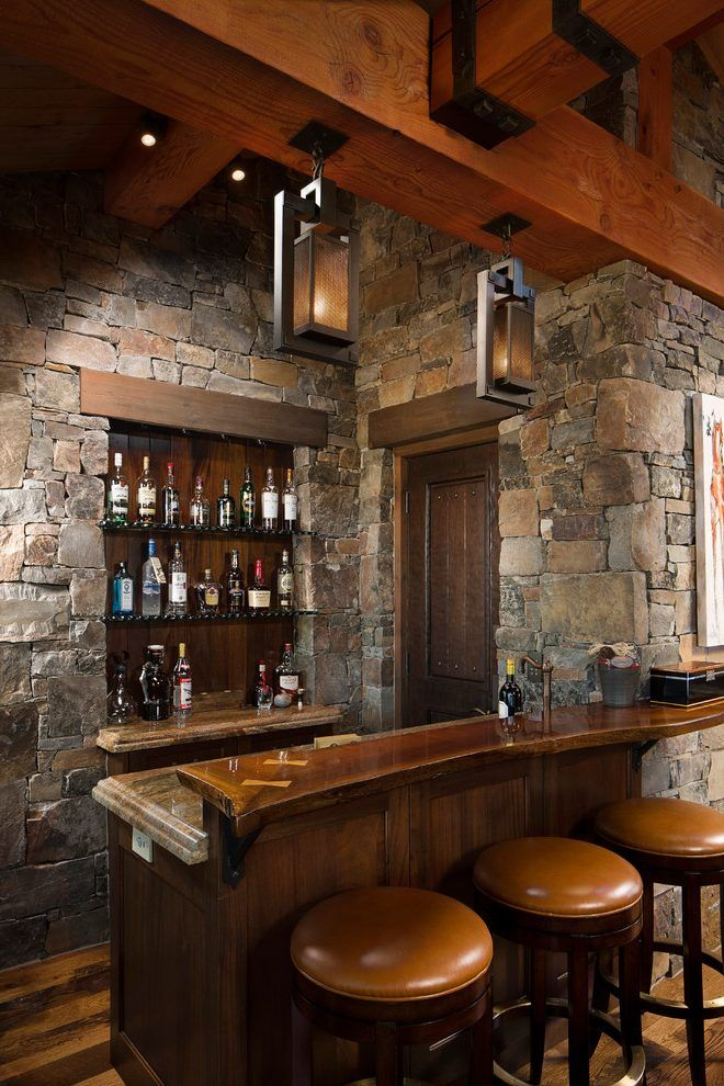 Basement Bar Ideas Stone Home Bar Rustic With Leather Bar Stools
