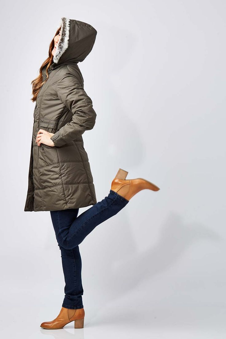 NEST PICKS - Long Length Puffer Jacket (Khaki): Made to keep you warm on the inside and protected from the elements. The Long Length Puffer Jacket from Nest Picks gives a modern understated look with touches of military styling that's spot on for winter. It's quilted with a detachable faux fur trim hood, snap pockets as well as a full length zip, giving you a great look that works in well with your on and off duty wardrobe. Love, Rowena and the birdsnest girls x
