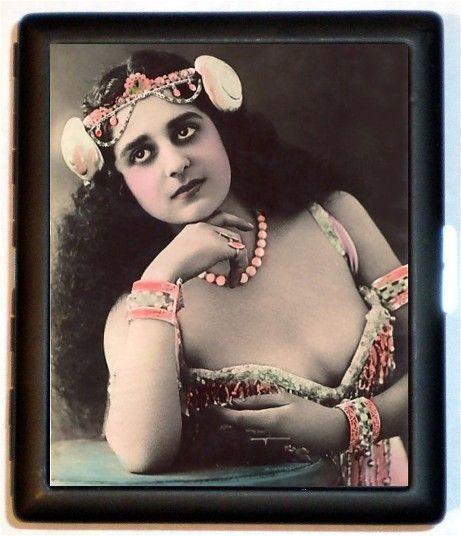 Edwardian Art Nouveau donna con elaborato copricapo bella 1900 con colore colorazione sigaretta ID biglietto caso titolare Wallet