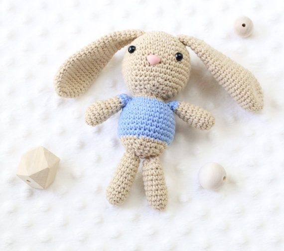 Little bunny named Stefan is looking for a friend :) He loves to play and cuddle. His heart is as big as his ears :) He is small, so perfect for little childs hands.   This Bunny was made with love and care. It can be a perfect gift for every kid, toddler.  It is made with cotton yarn and a safety nose and eyes. Filled with antiallergic fiberfill. There is no choking hazard.  Approximate heigh 16cm (7 in) + 12cm ears (4,5in)  Give a lovely gift to someone special.     IMPORTANT  Despite all…