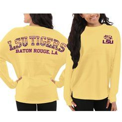 Women's LSU Tigers Yellow Aztec Sweeper Long Sleeve Oversized Top