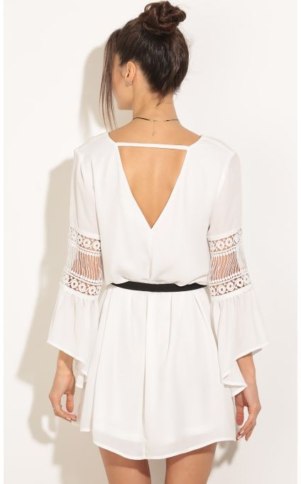 Party dresses > Crochet Sleeve Day Dress In White