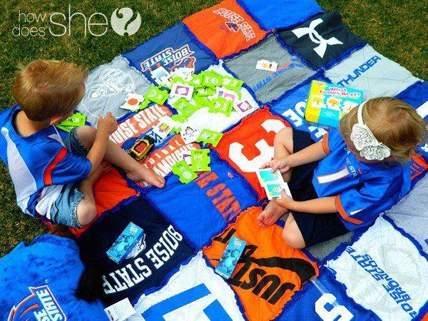 We've got spirit, yes we do!  School spirit t-shirt blanket