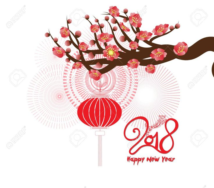 Happy new year 2018 greeting card and chinese new year of the dog with Cherry blossom background