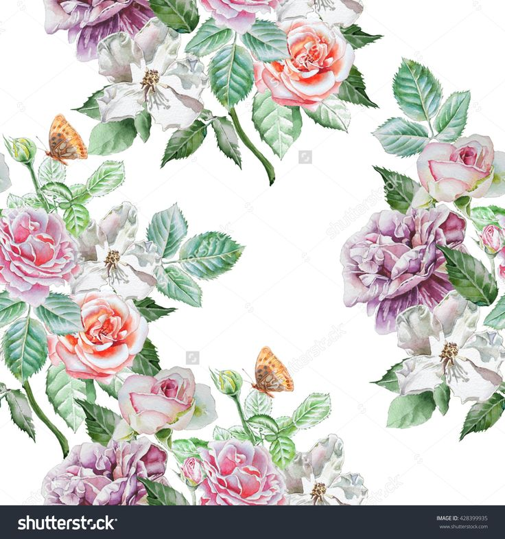 Seamless Pattern With Spring Flowers. Rose. Peony. Blossom. Watercolor. Hand Drawn. Imagen de archivo (stock) 428399935 : Shutterstock