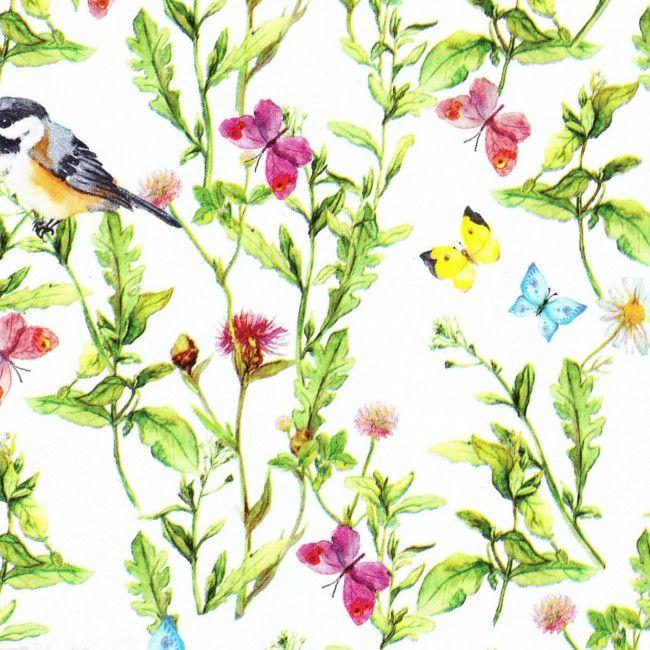 Voksdug Musvit, voksdug med nusvitter og sommerfugle, 140 cm bred