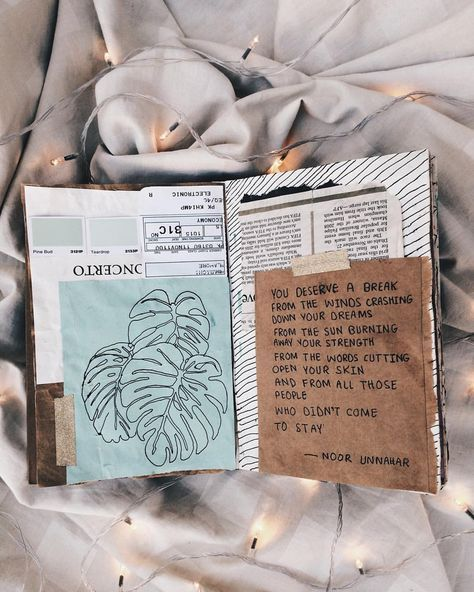 — you deserve a break // art journal + poetry by noor unnahar // journaling ideas inspiration teen diy craft, words quotes poem inspiring self love discovery hand written, Tumblr hipsters aesthetics beige life, photography flatlay flat lay instagram, creative bloggers writers of color Pakistani writers, craft diy, notebook scrapbooking mixed media, fairy lights, white //