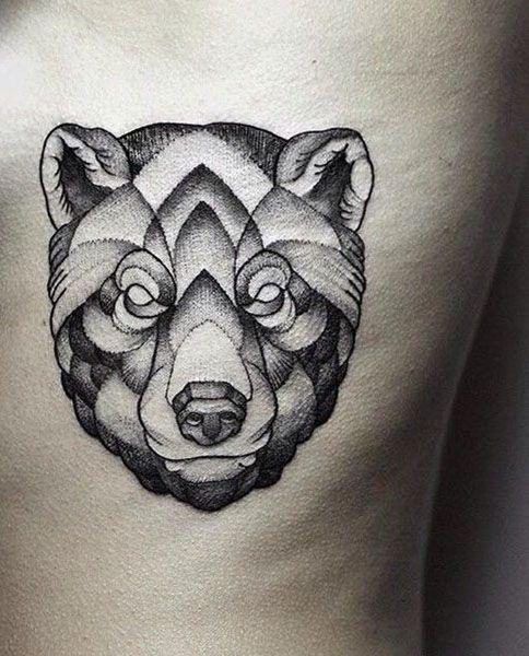 Black Ink Geometric Bear Head Tattoo On Side Rib