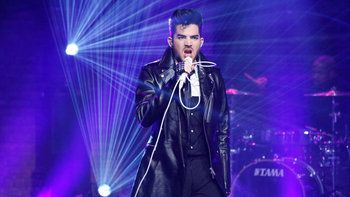 "Adam Lambert performs ""Ghost Town"" on Late Night with Seth Meyers...."