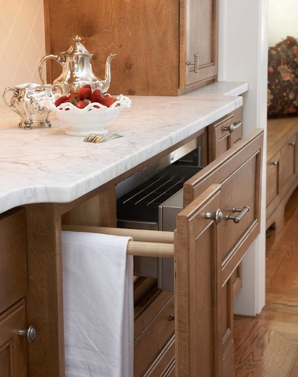 TerraCotta Properties: Elegant kitchen design with honey stained kitchen cabinets with brushed nickel hardware ...