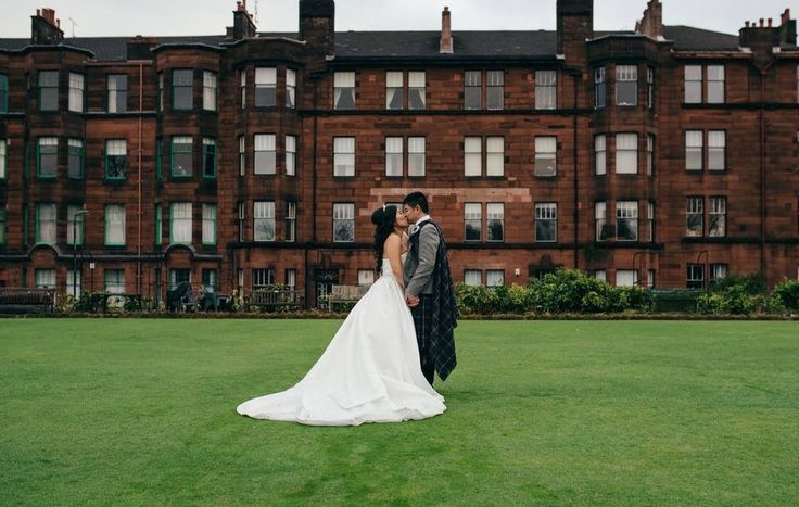 Chinese bride and groom portrait on bowling green