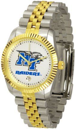 Middle Tennessee State Blue Raiders (MTSU) Suntime Mens Executive Watch - NCAA College Athletics SunTime. $143.59. Safety Clasp. 23kt Gold Plate Bezel. Two-Tone Solid Stainless Steel Band. Calendar Date Function. Stainless Steel Case. Save 20% Off!