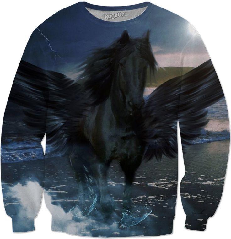Black Pegasus Sweatshirt #rageon #erikakaisersot #sweatshirts #pegasus