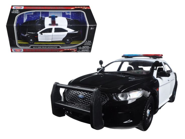 2013 Ford Police Car Interceptor Unmarked Black/White 1/24 Diecast Model Car by Motormax - Brand new 1:24 scale diecast model of 2013 Ford Police Car Interceptor Unmarked Black/White die cast car by Motormax. Brand new box. Rubber tires. Has opening hood and doors. Made of diecast with some plastic parts. Detailed interior, exterior, engine compartment. Dimensions approximately L-8, W-4, H-3.25 inches. Please note that manufacturer may change packing box at any time. Product will stay…