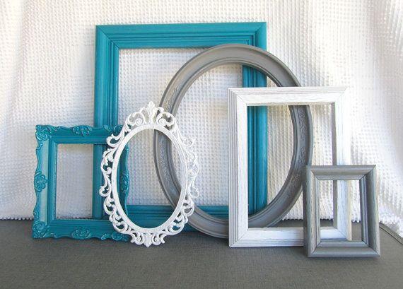 teal grey white vintage picture frames set of 6