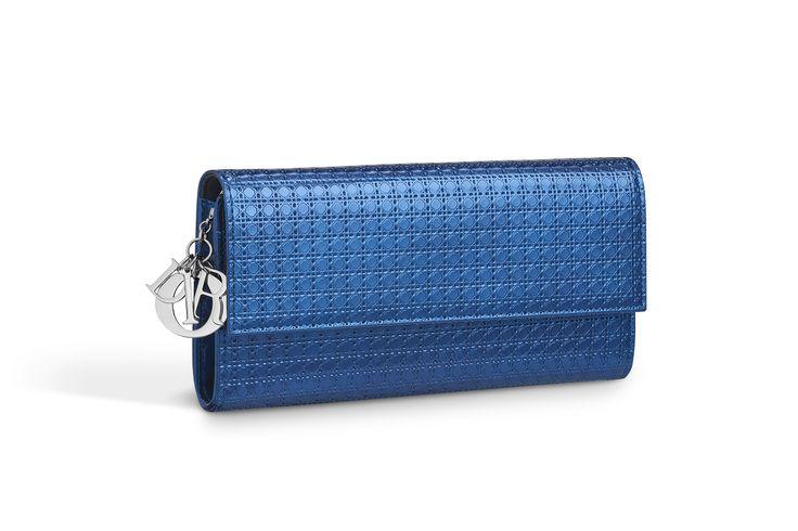 """Carteira croisière """"lady dior"""" em couro de bezerro microcannage metalizado azul - Dior"""