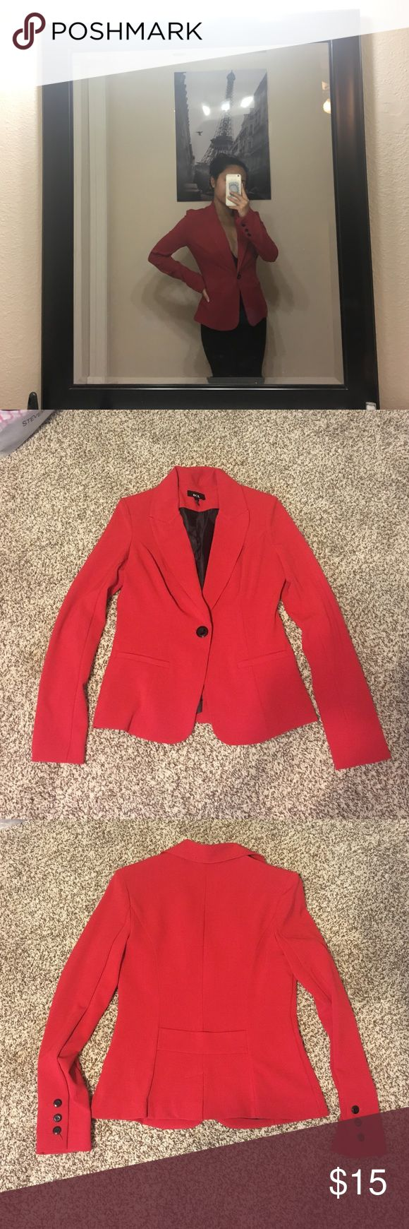 Red Blazer Red shoulder padded blazer with 3 black sleeve buttons. Perfect to wear and match everyday work outfit. Worn only once since my shoulders are too broad for it. BCX Jackets & Coats Blazers