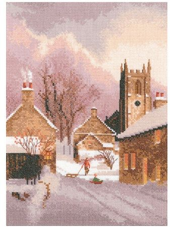 Snowy Village(JCSY1305)  A 'John Clayton' cross stitch design for Heritage Crafts.  Contents: 14 count or 27 count evenweave fabric, DMC cotton threads, needle, chart and full instructions.  Size: 20cm x 28cm    DELIVERY DETAILS: - Please allow upto 7 working days for dispatch.