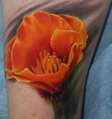 california poppy tattoo - so different, if I wasn't a whimp, I would get this done.