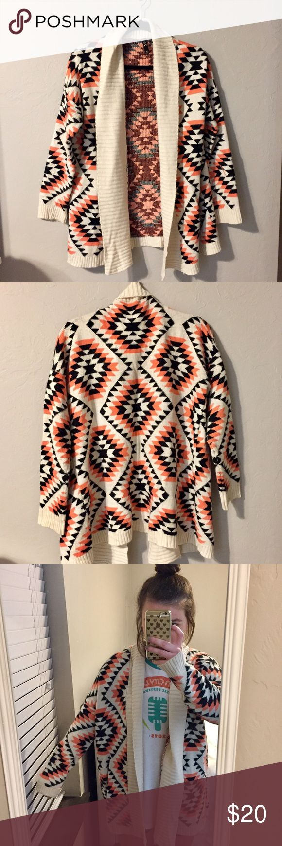 TOBI Tribal Print Sweater Super cute tribal print sweater from TOBI. Comfortable oversized fit. Cream with neon pink and black tribal pattern. Size medium but could fit a range of sizes. Make me an offer! Tobi Sweaters Cardigans