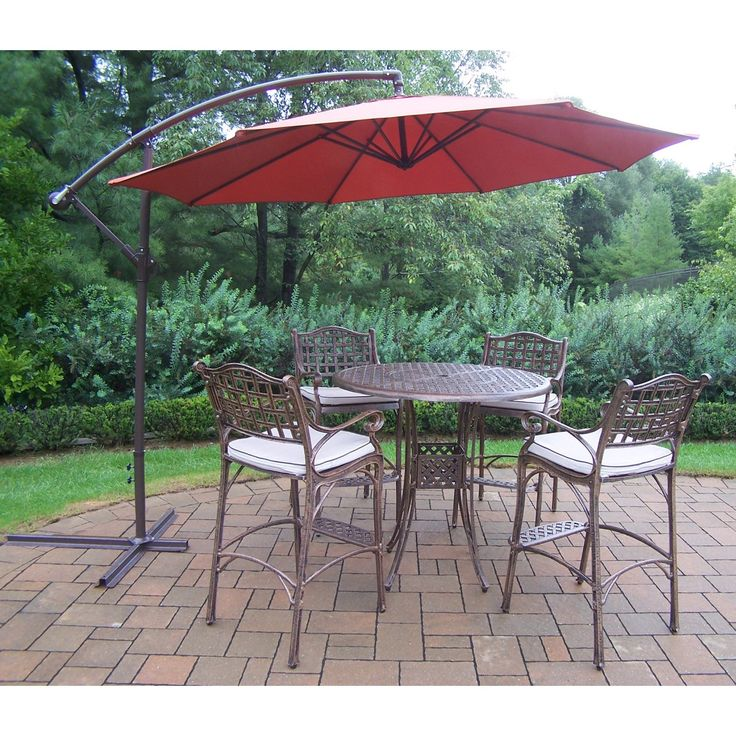 Outdoor Oakland Living Elite Cast Aluminum 5 Piece Patio Bar Set With  Cushions And Cantilever Umbrella