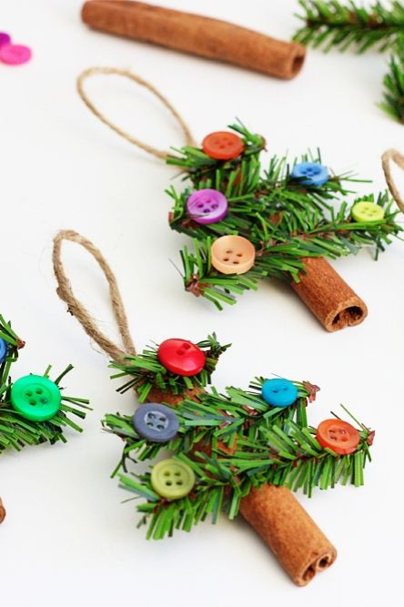 Adorable Cinnamon Stick Tree Ornaments - kids