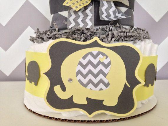 chevron elephant diaper cake yellow yellow and by alldiapercakes