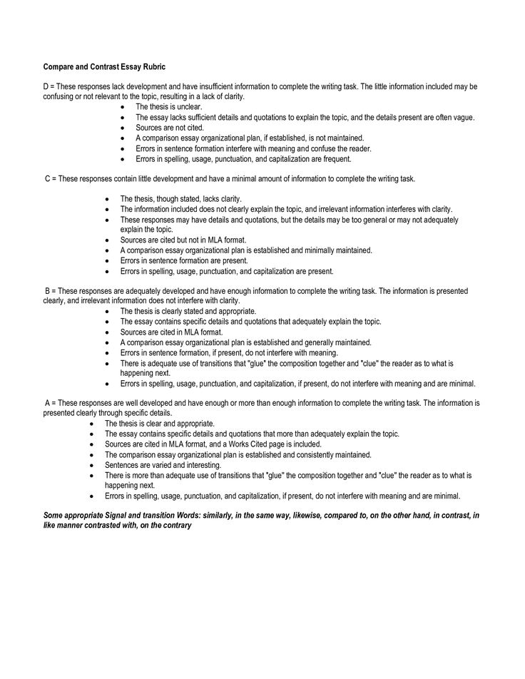 Essay outline help high school students compare and contrast