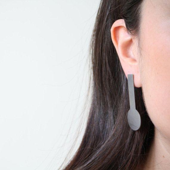 Modern earrings big black chandelier earrings oxidized