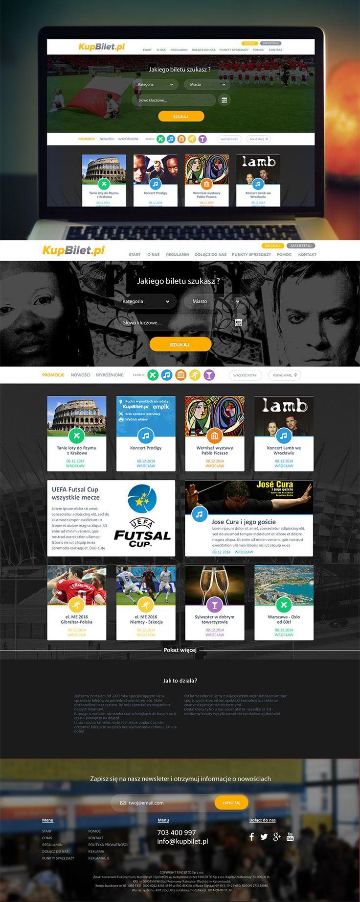 Projekt nowej szaty graficznej portalu zajmującego się sprzedażą biletów przez internet.