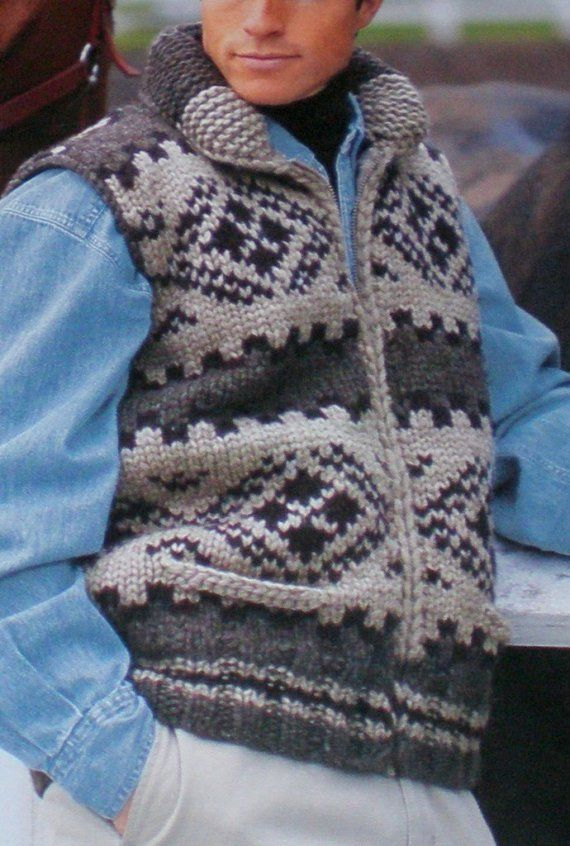 Cowichan SWEATER Vest Knittting Pattern by raincoaststudio on Etsy, $4.00