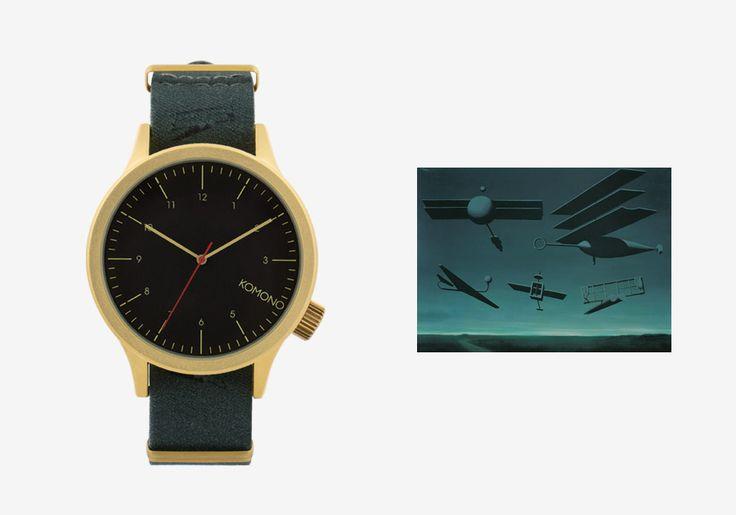 Komono x René Magritte — hodinky Magnus — pánské, dámské — surrealistické motivy — Black Flag — Černá vlajka #watches #komono #surrealism #magrite #renemagritte #surrealismus #hodinky #magnus